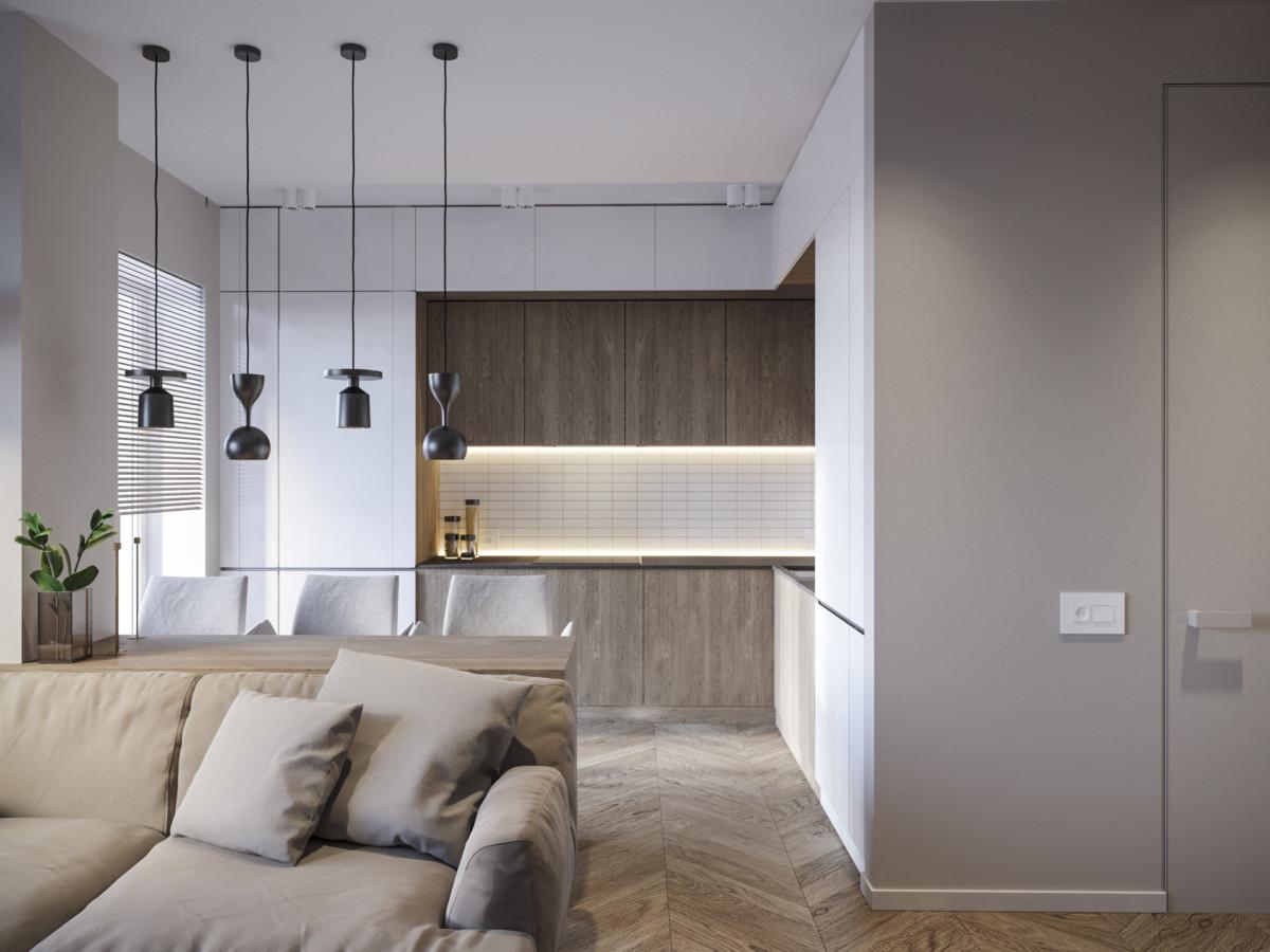Современная кухня с правильной геометрией, но в ней есть секрет: у окна — газовый котёл в нише, она открывается как шкаф.