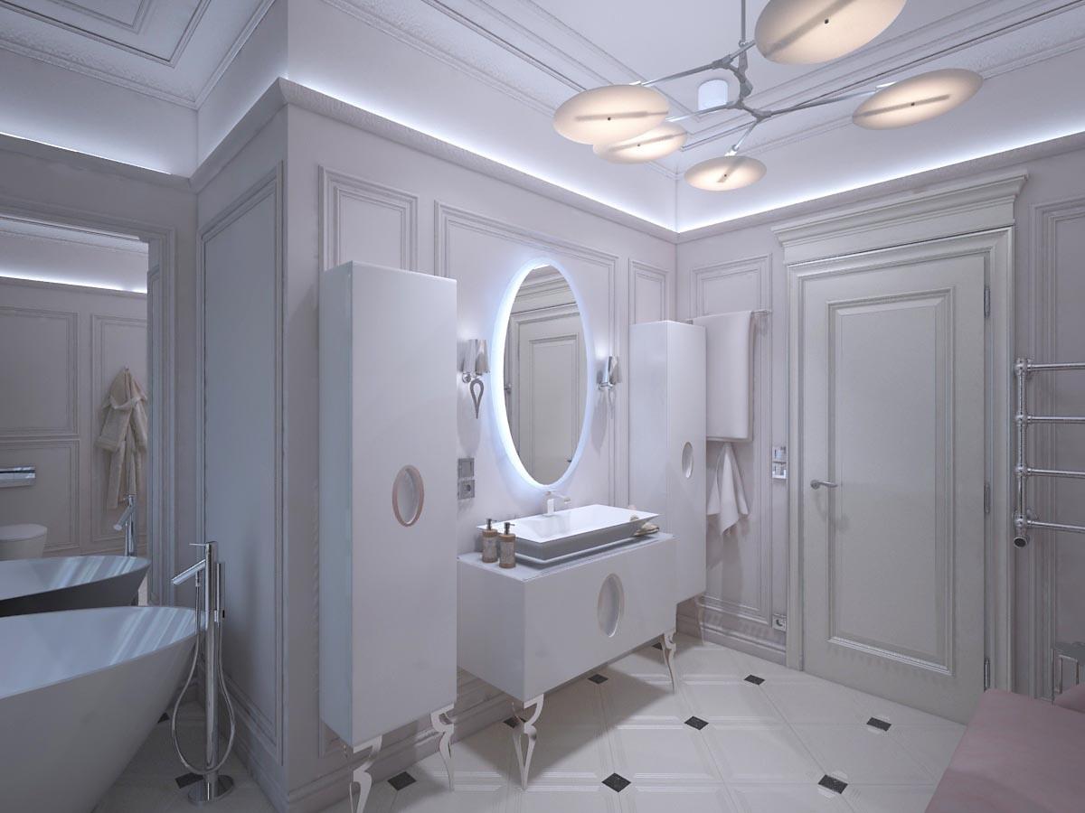 На 12 кв. м расположилась ванна, душ, комплект мебели с раковиной и унитаз. На стенах нет керамической плитки.