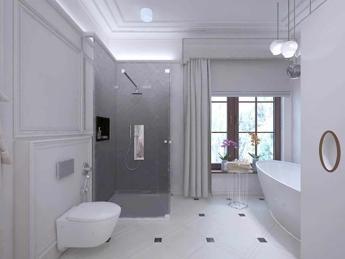 Окно оформлено ламбрекеном и шторой. На стене душевой — керамическая плитка в виде чешуи.