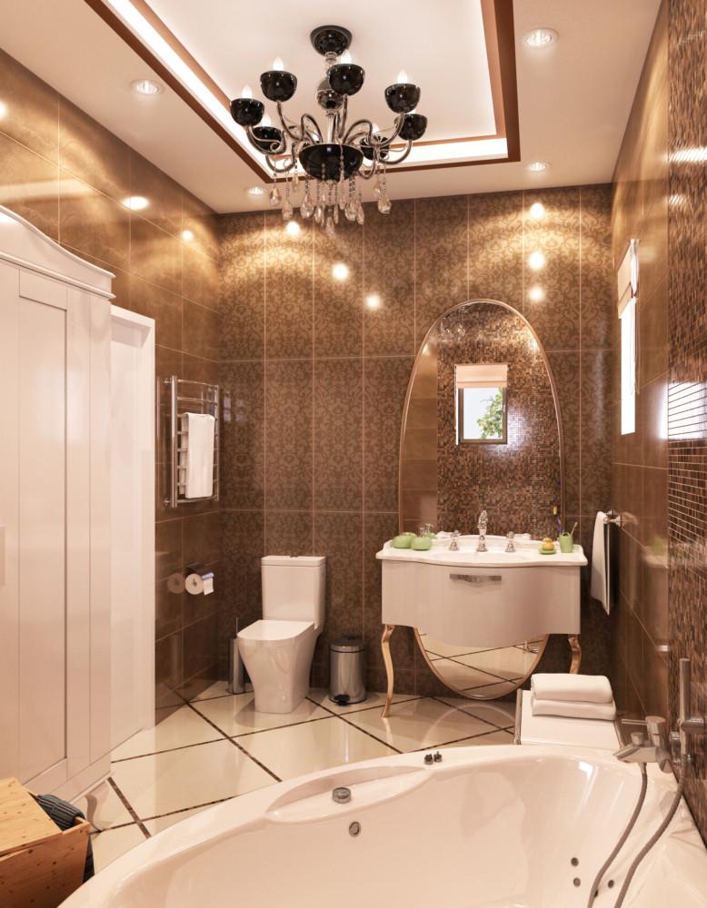 На первом этаже расположилась ванная. В отделке стен использовали керамическую плитку. Цветовая гамма коричнево-бежевая.