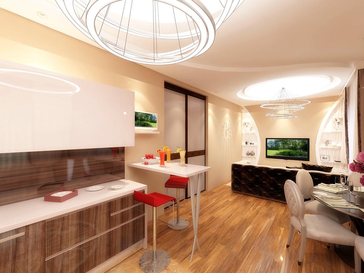 Зона кухни отделена от гостиной островом. Кухня выполнена в современном стиле. В отделке применили белый и коричневый цвета.