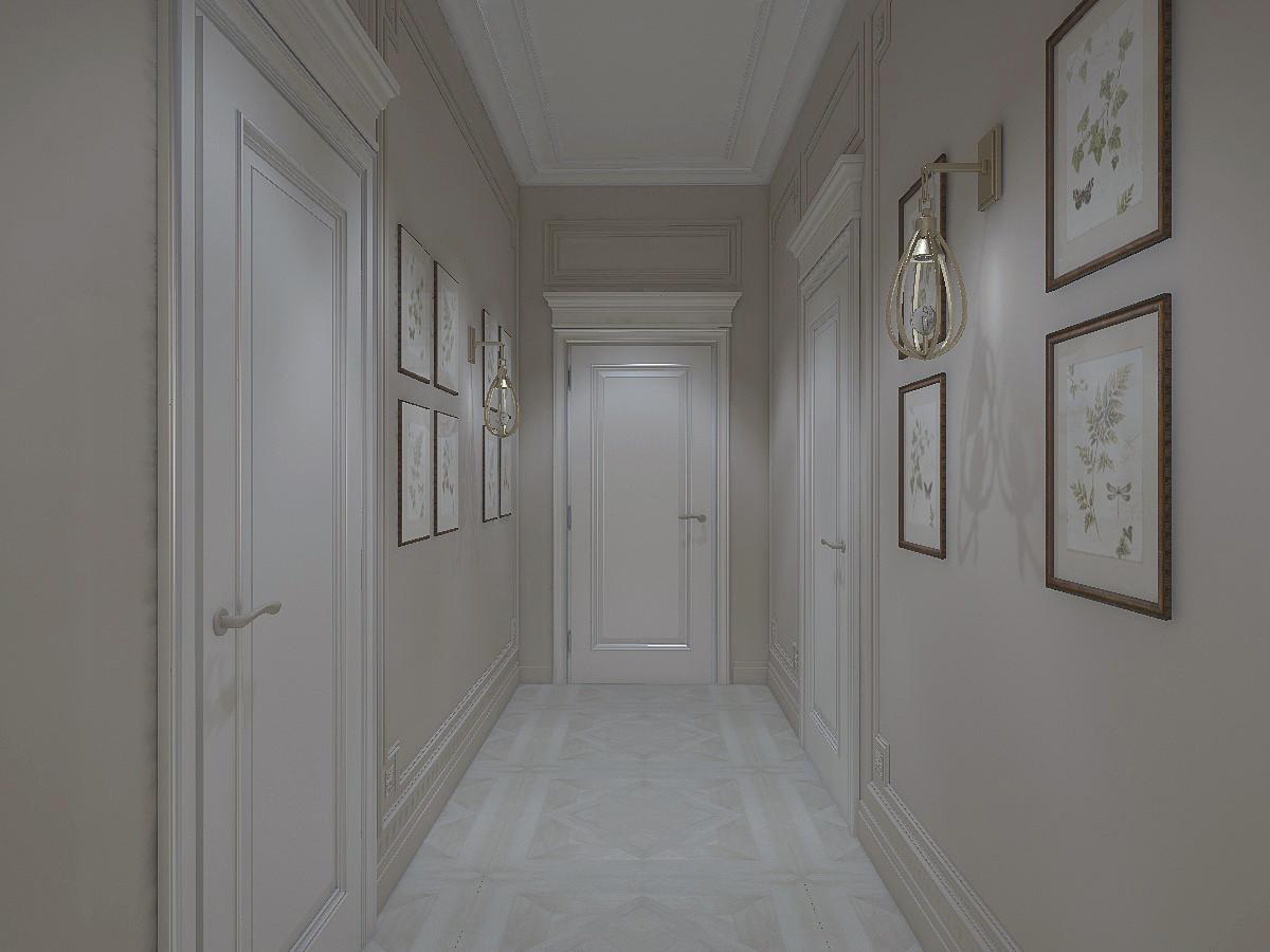 Узкий коридор, который ведёт в гараж, оформили картинами. Светло-бежевая цветовая гамма стен сочетается со светлыми дверями.