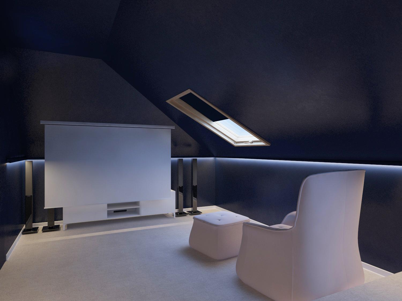 Подиум. Диван расположили возле дальней стены, а удобное кресло — впереди. Освещение только настенное.