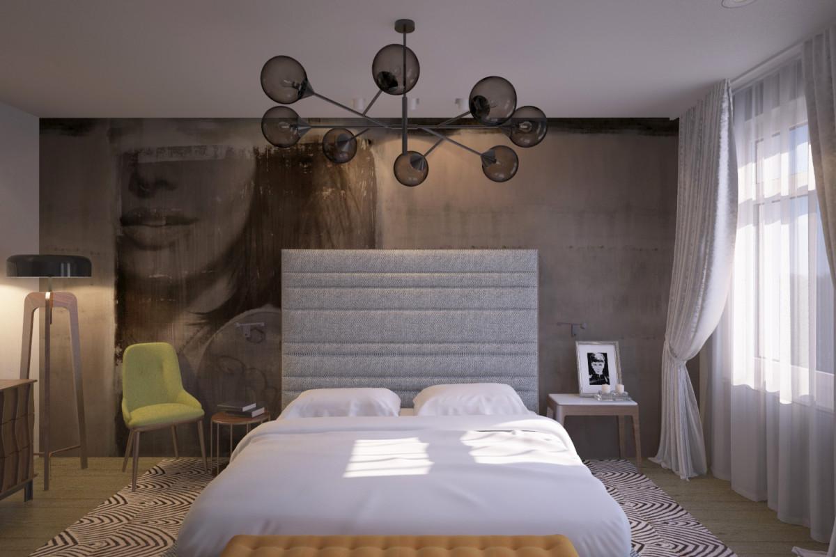 Доминирующий элемент спальни — изображение на «видовой» стене. Минимум деталей, крупный принт притягивает внимание.