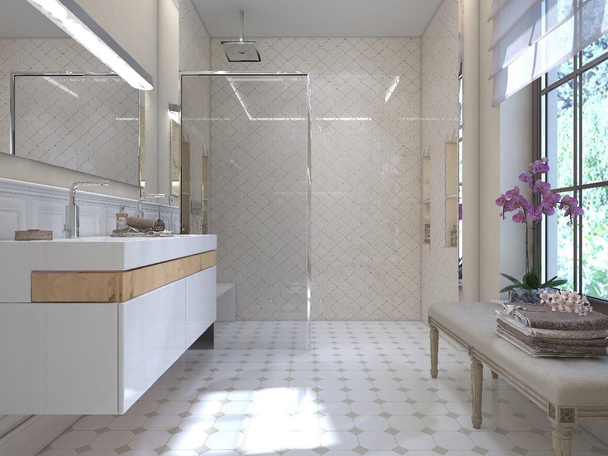 В зоне душа — керамическая плитка «арабеска». Стеклянная перегородка разделяет душ и раковину.