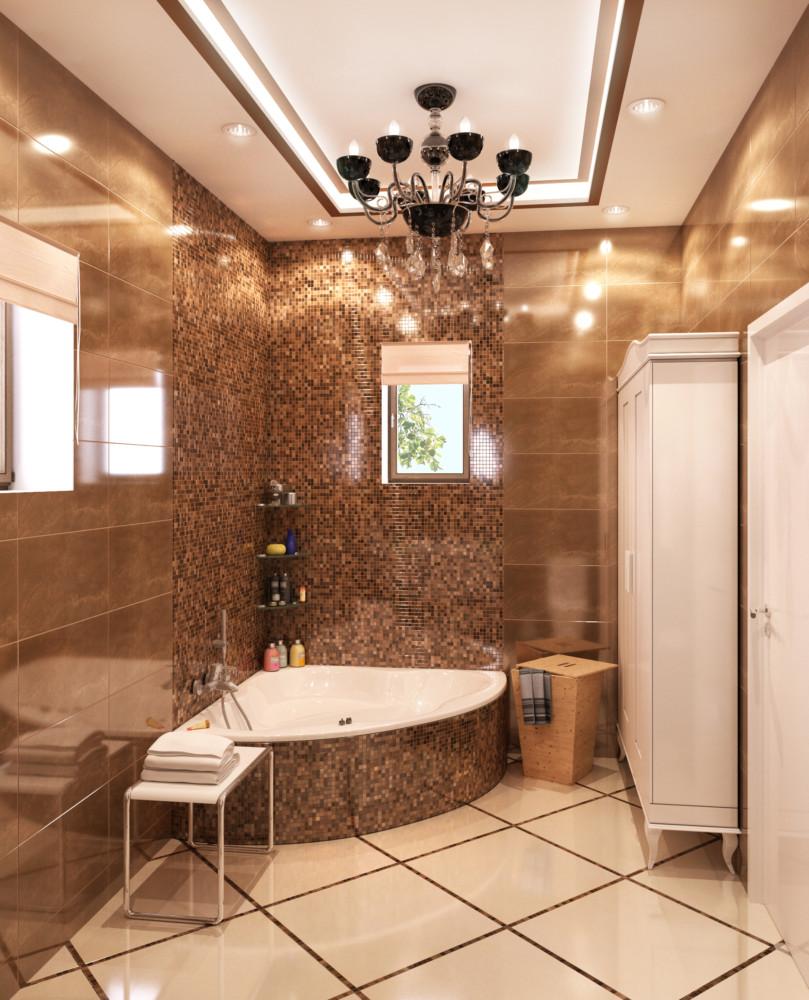 Зона ванны декорирована мозаикой. На полу керамическая плитка с отделкой мозаикой.