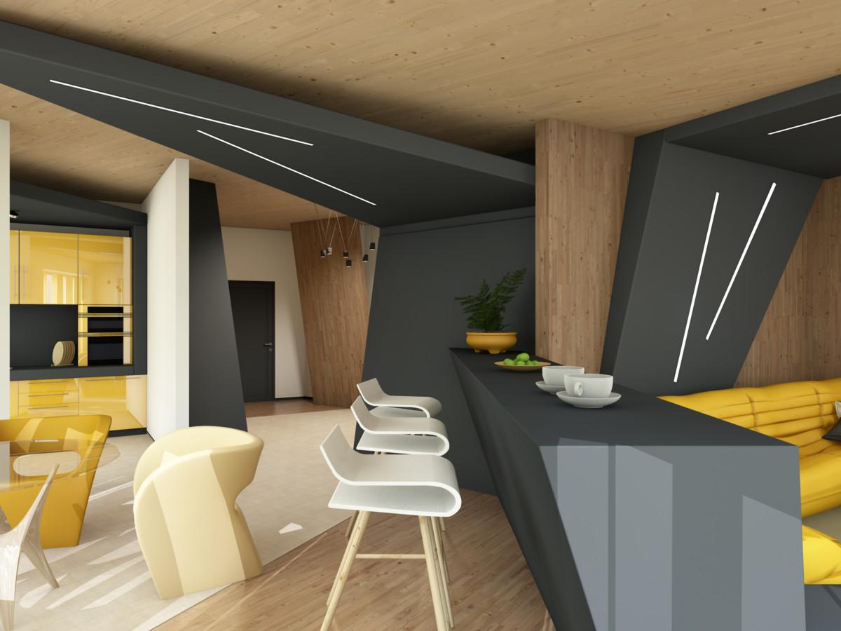 Кухня/столовая в  цветах:   Бежевый, Желтый, Лимонный, Темно-зеленый, Темно-коричневый.  Кухня/столовая в  стиле:   Минимализм.