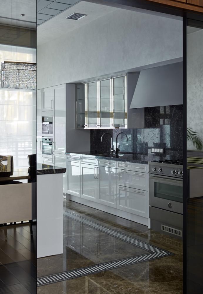 Кухня/столовая в  цветах:   Голубой, Светло-серый, Серый.  Кухня/столовая в  стиле:   Минимализм.