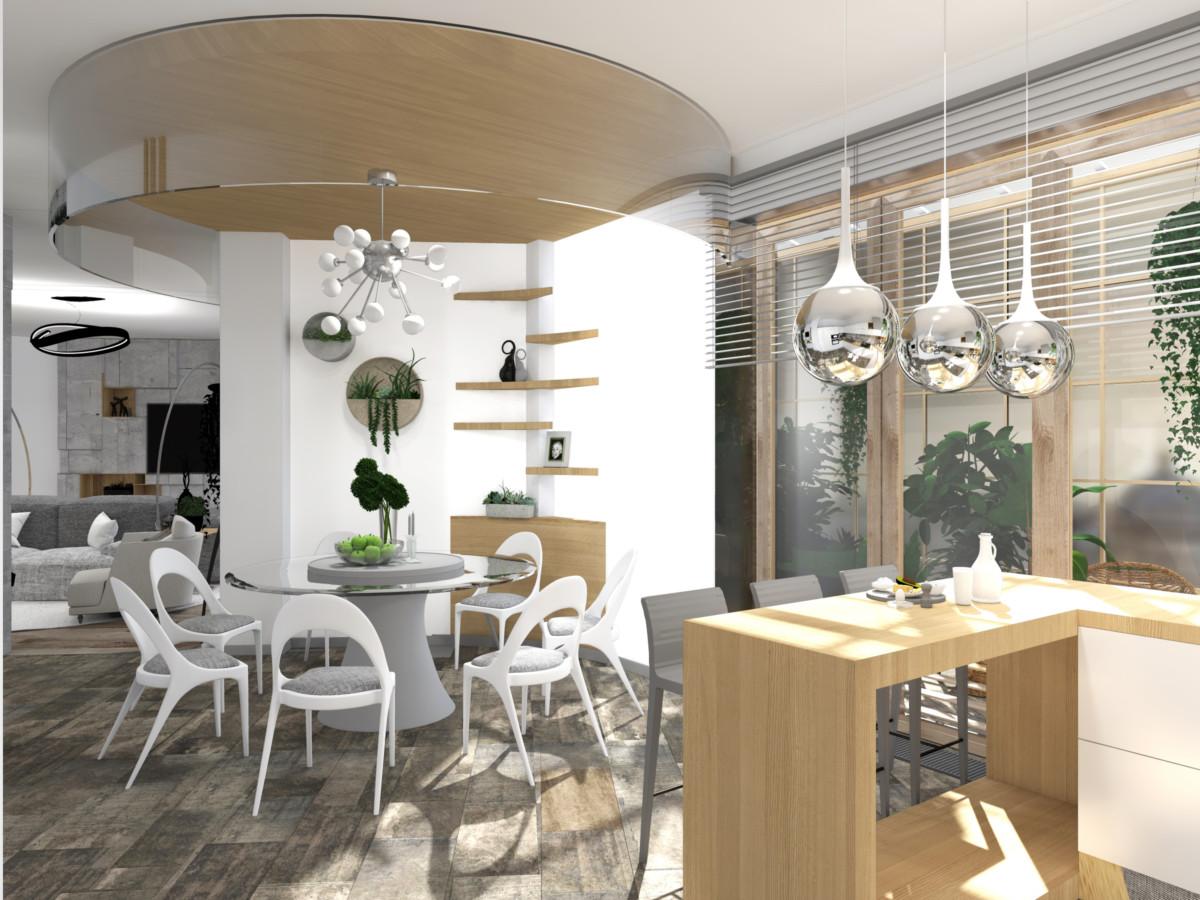 Кухня/столовая в  цветах:   Бежевый, Темно-зеленый, Темно-коричневый.  Кухня/столовая в  стиле:   Минимализм.