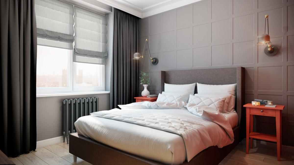 интерьер спальни хозяев квартиры