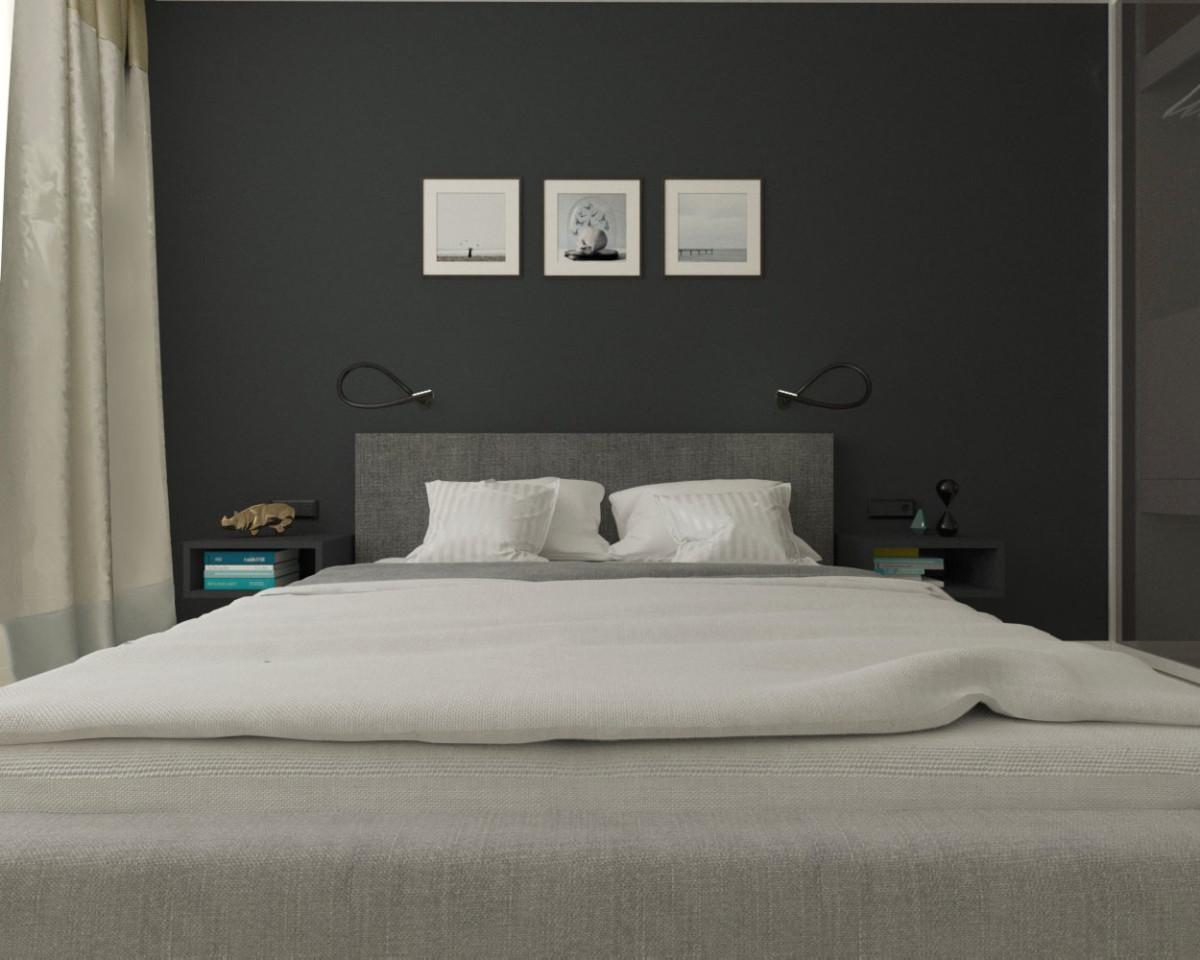 Спальня в  цветах:   Бежевый, Серый, Темно-зеленый.  Спальня в  стиле:   Скандинавский.