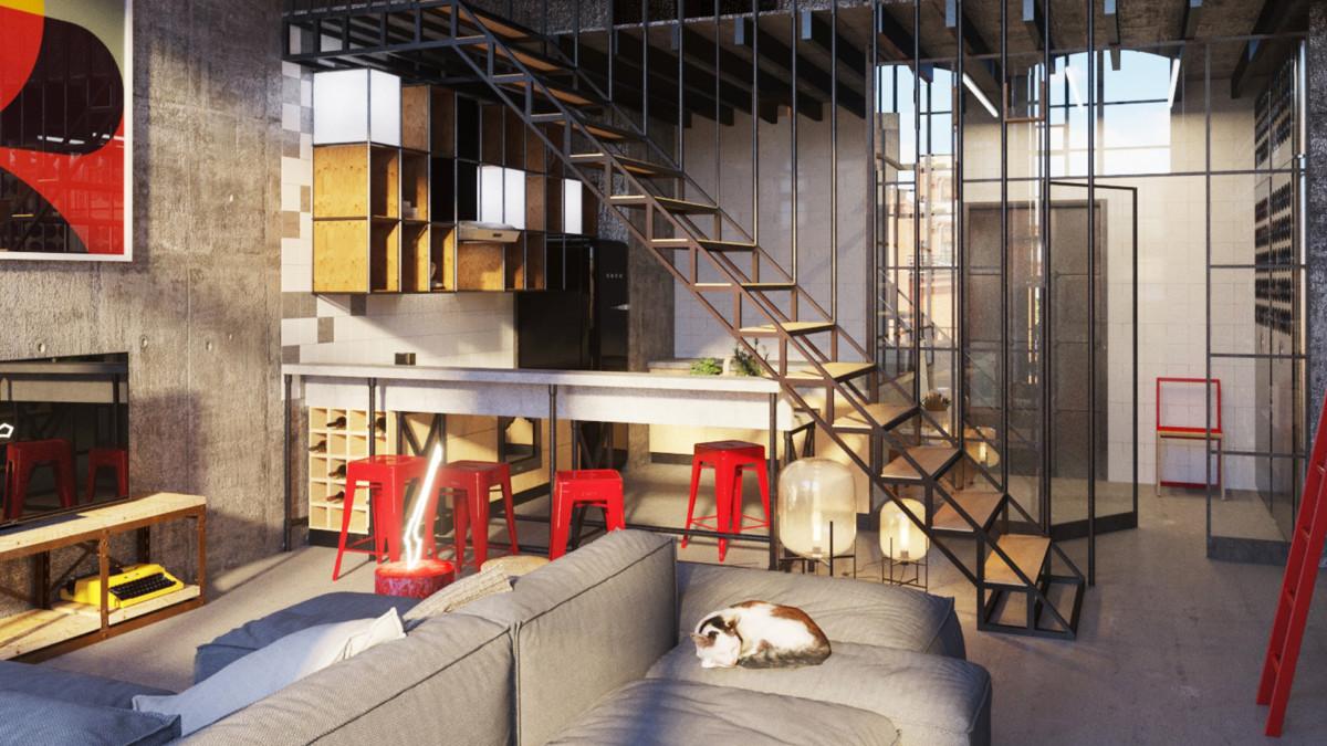 Гостиная в  цветах:   Бежевый, Бордовый, Коричневый, Светло-серый, Темно-коричневый.  Гостиная в  стиле:   Лофт.