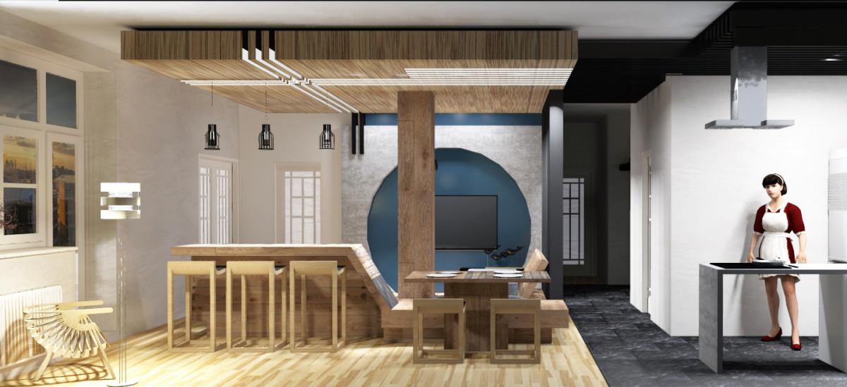 Проект трёхкомнатной квартиры в японском стиле