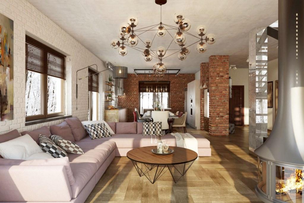 Большое лофт-пространство позволило разместить три зоны: кухню, столовую и гостиную. Используемые в дизайне интерьера остекление, кирпич, бетон и металл гармонично вписываются в традиции стиля лофт.