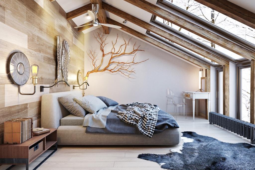 Наглядный пример того, как различная древесина, цвета и фактуры, а также различные формы прекрасно сочетаются и создают ощущение теплоты и уюта, как и должно быть в спальной комнате.