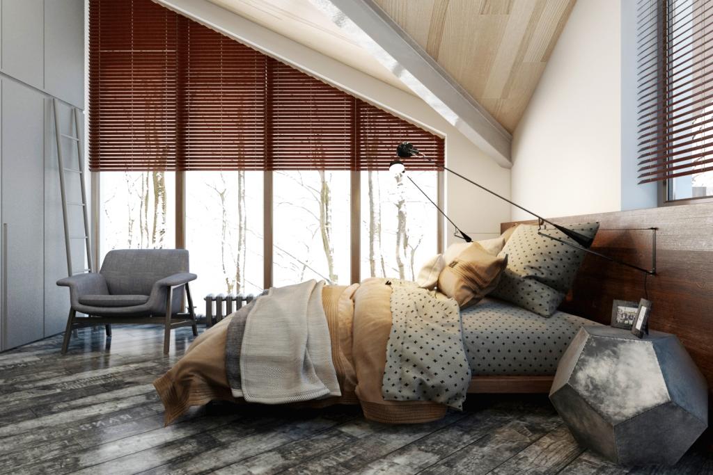 Остекление от пола до потолка делает комнату безграничной и полной света. Неувядающая картинка из окна в разное время года будет наполнять комнату разными красками.