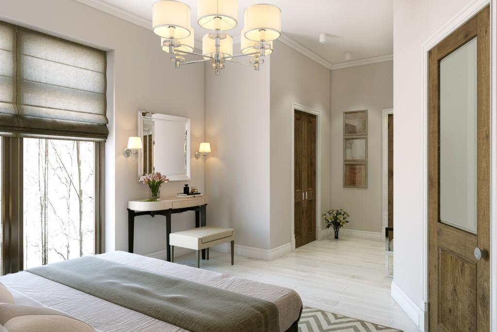 В этом пространстве всё в досягаемости: гардеробная и отдельная ванная комната.