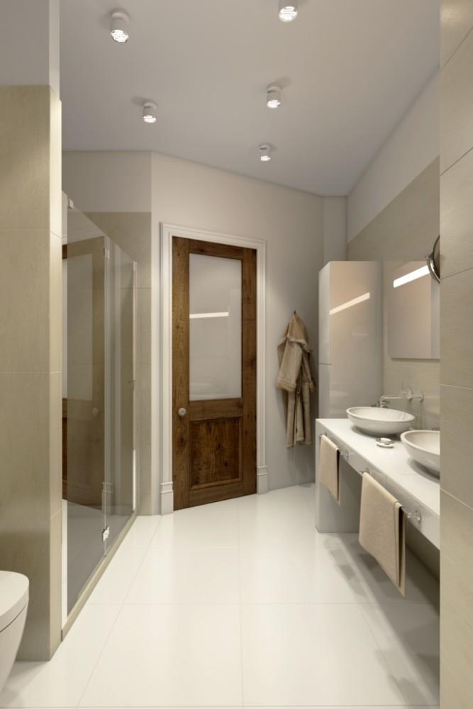 Ничего лишнего и громоздкого, всё комфортно и лаконично в этом пространстве. Прозрачная просторная душевая, столешница с двумя раковинами и небольшой пенал для хранения необходимого для ванной комнаты.