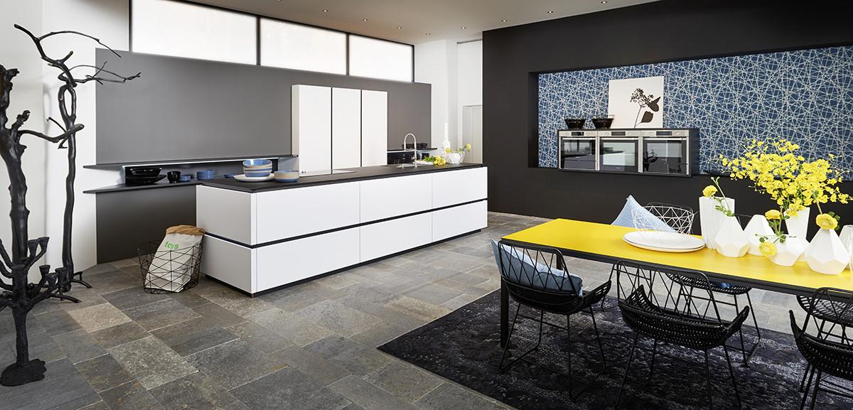 Кухня/столовая в  цветах:   Бежевый, Лимонный, Светло-серый, Серый.  Кухня/столовая в  стиле:   Минимализм.