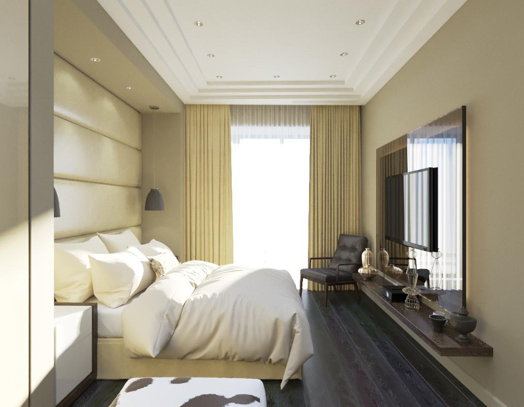 Спальня в  цветах:   Бежевый, Коричневый, Светло-серый, Темно-коричневый.  Спальня в  стиле:   Минимализм.
