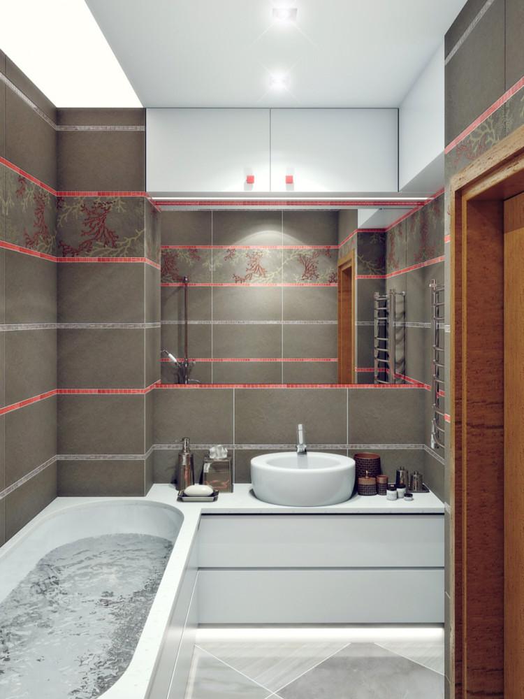 Ванную хотелось побольше, со множеством  вместительных шкафчиков, но не за счёт объединения с санузлом.   Напольное покрытие: керамогранит avorio imperiali Мебель на заказ по индивидуальному проекту.