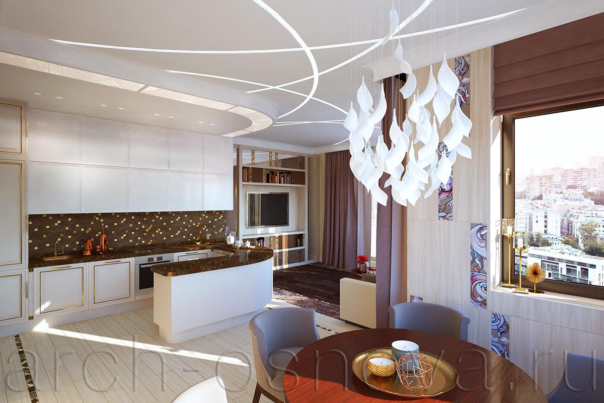 Для сложного по форме объединенного пространства была разработана изящная потолочная композиция встроенных светодиодных светильников.  В кухонной зоне потолок опущен для размещения запотолочных инженерных коммуникаций, округлая форма второго уровня потолка повторяет изгиб барной стойки с системой хранения.