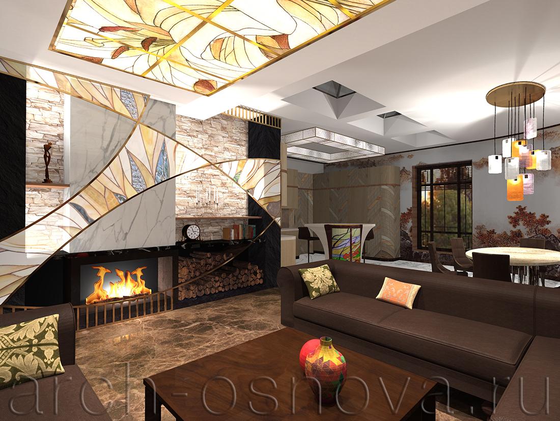 Каминный портал в гостиной зоне декоративно оформлен пластичными линиями латунных переплётов с элегантными вставками художественного витража.
