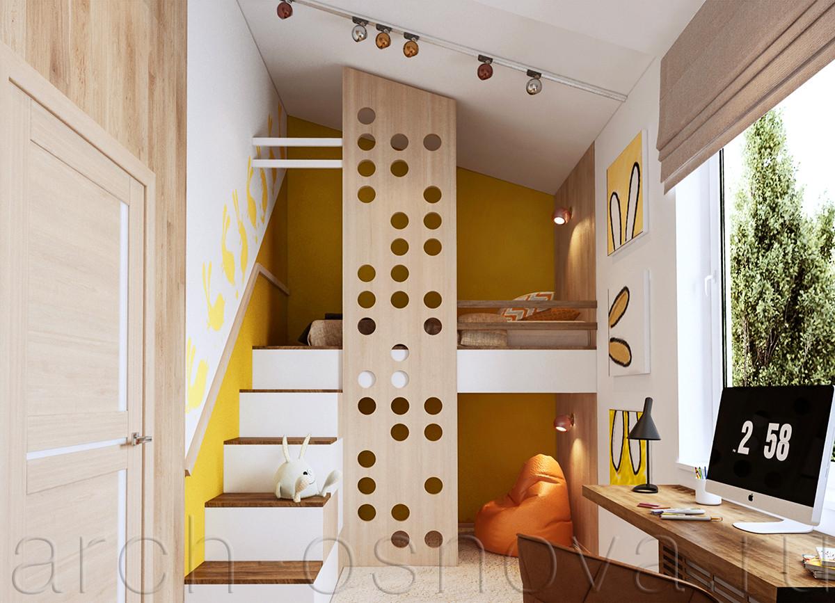 Под кроватью-чердаком организована небольшая зона для спокойного отдыха и чтения с мягким бескарасным креслом. Лестница на кровать-чердак выполняет роль зоны хранения, с торцевой стороны размещены удобные шкафчики и выдвижные ящики для игрушек.
