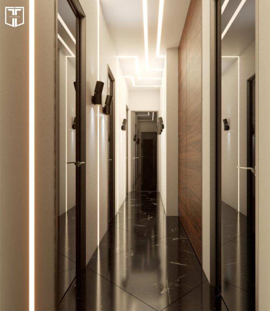Встроенная светодиодная подсветка на потолке продолжает тему движения, которая стала основой дизайна офиса.