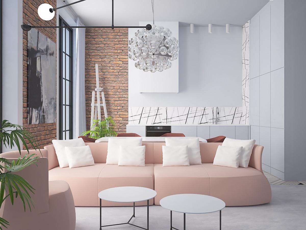 Вся встроенная в пространство мебель очень лаконична по формам и отделке.