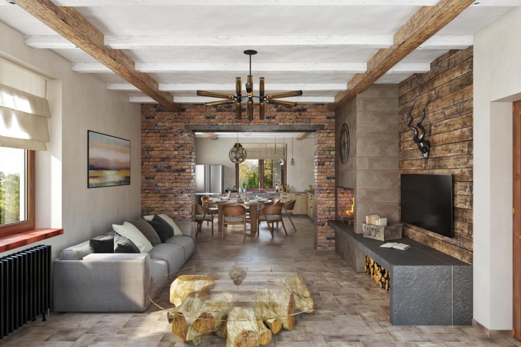 Стена между кухней и гостиной имитирует широкую кирпичную стену с порталом, где перемычкой является металлический профиль