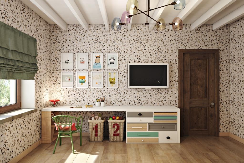 Мебель заказная, нужного размера и нужных цветов по моим эскизам. Мне нравятся большие горизонтальные поверхности, которые таят под собой разные функциональные зоны. В нашем случае книжный стеллаж, письменный стол и комод