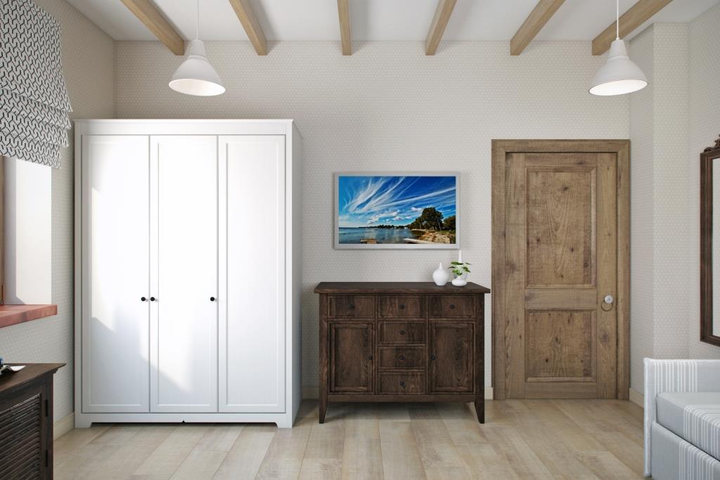 Вещевые шкафы, у которых открыта хотя бы одна боковая сторона, не советую делать в тёмных оттенках, так как шкаф имеет не малую глубину (60-70 см)