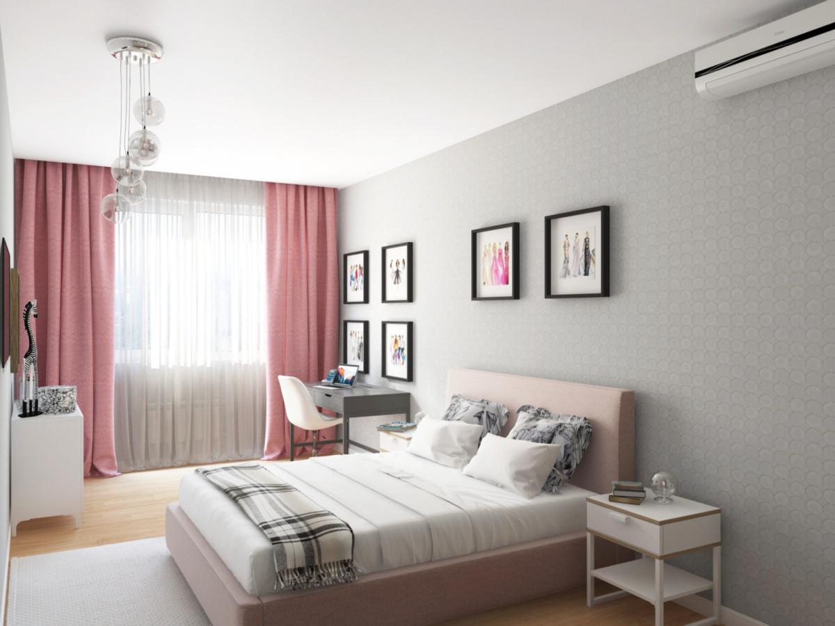 Спальня девочки, серый цвет создает строгую и спокойную атмосферу, розовый делает интерьер мягче. Рисунок обоев перекликается с люстрой.