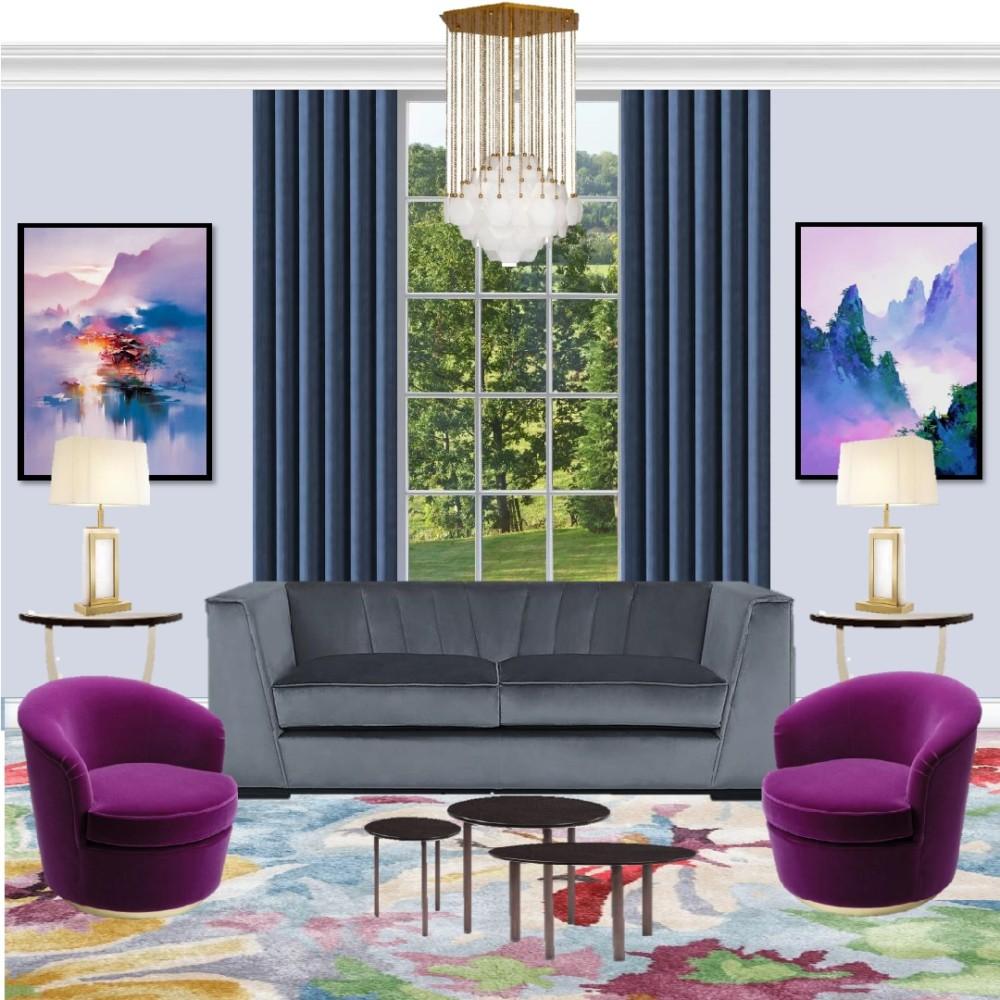 Гостиная в серо-фиолетовых тонах