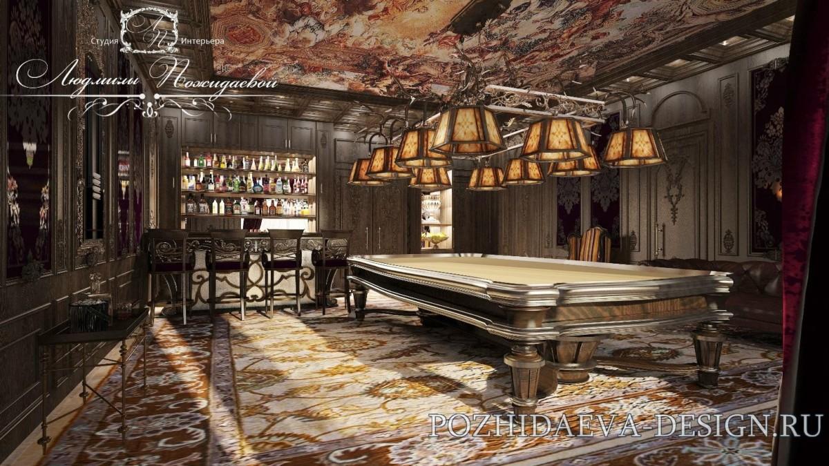 На потолке использована фреска высочайшего  мастера фресок Пьетро да Кортона, на полу ковер по индивидуальному эскизу дизайнера.