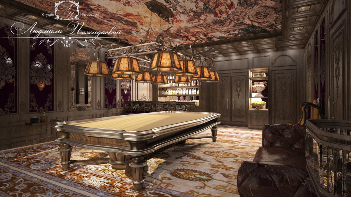 Бильярд - игра захватывающая, интеллектуальная, размеренная, со множеством традиций.  Дубовые панели и ткани итальянских мастеров винного цвета создают атмосферу уверенности и благодушия. На диване Честерфилд можно наблюдать за игроками.