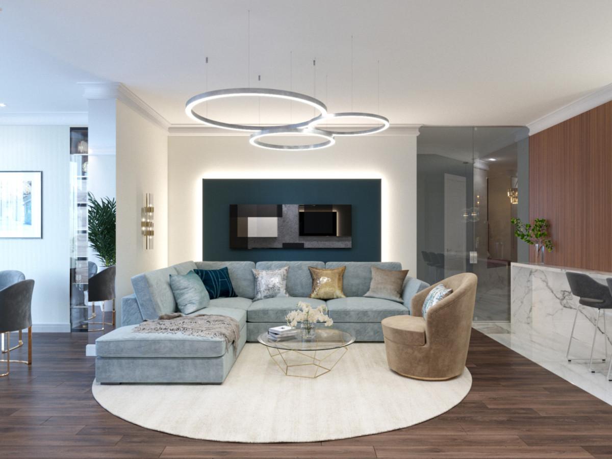 Современный интерьер квартиры с очень необычной планировкой