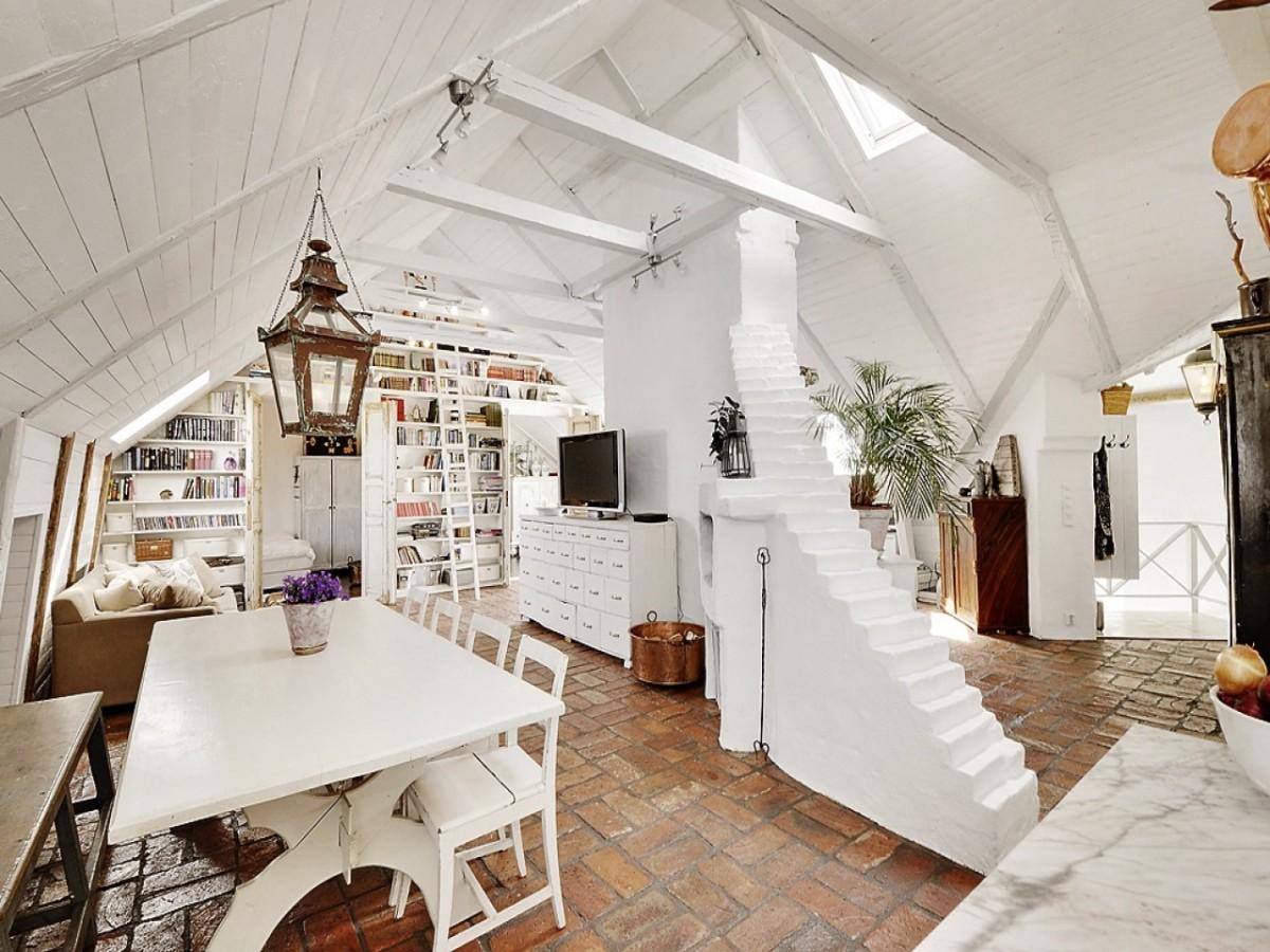 Скандинавский чердак-студия с оттенком французской деревни