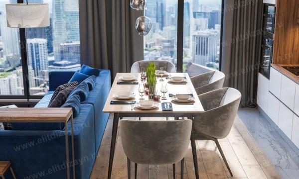 Кухня/столовая в  цветах:   Бирюзовый, Коричневый, Светло-серый, Фиолетовый.  Кухня/столовая в  стиле:   Минимализм.