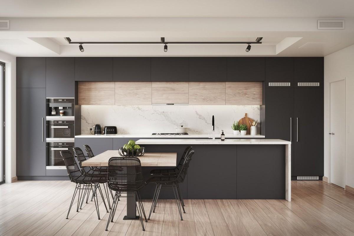 Чёрный цвет на кухне: 12 модных интерьеров с фото