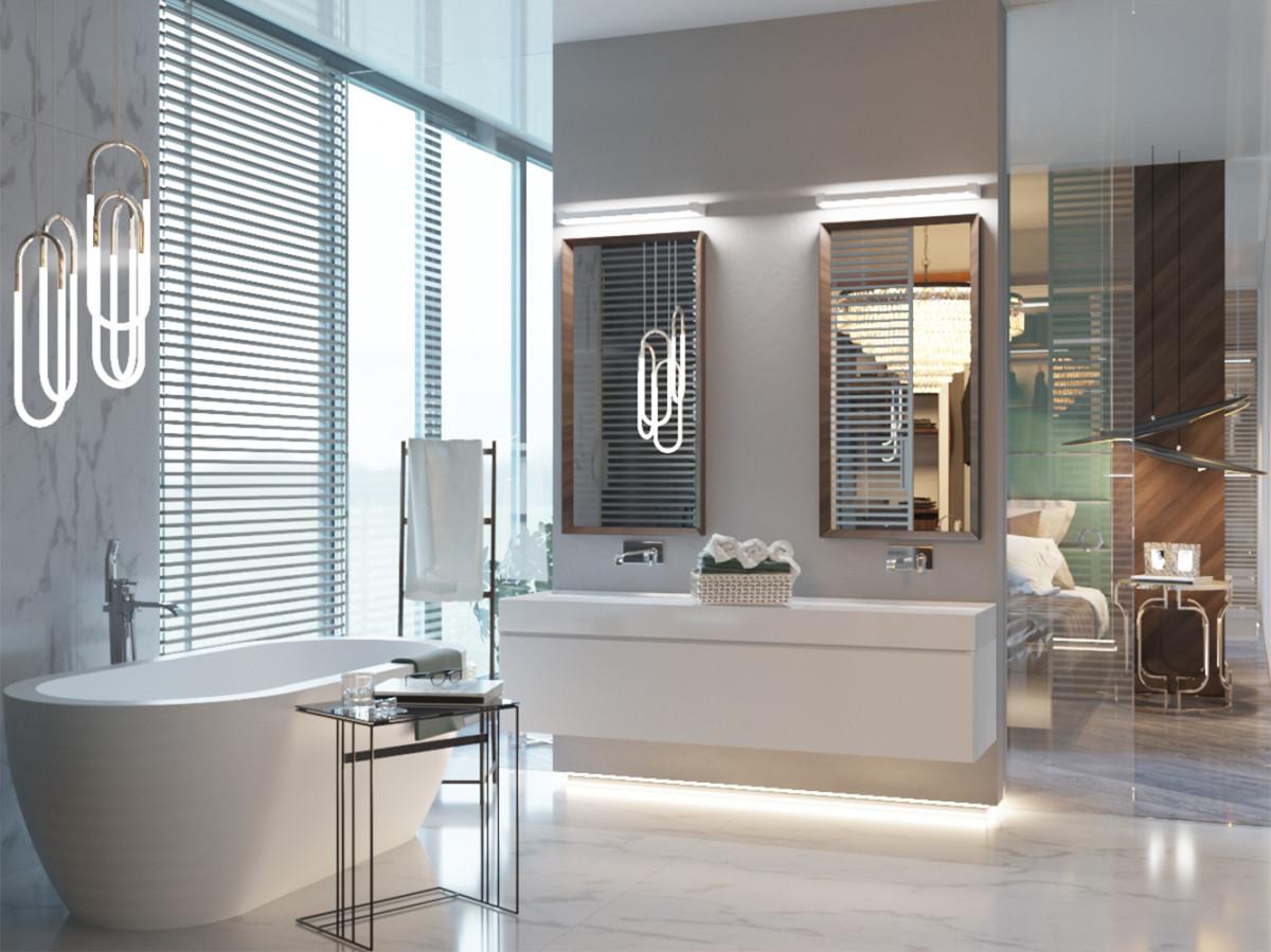 Просторный интерьер трёшки, где есть ванная с панорамным видом