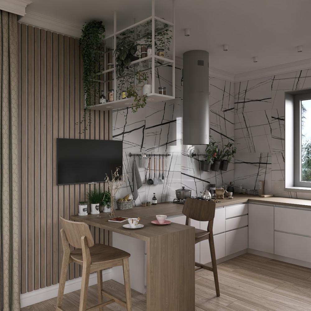 Современный интерьер с элементами эко в доме для молодой семьи