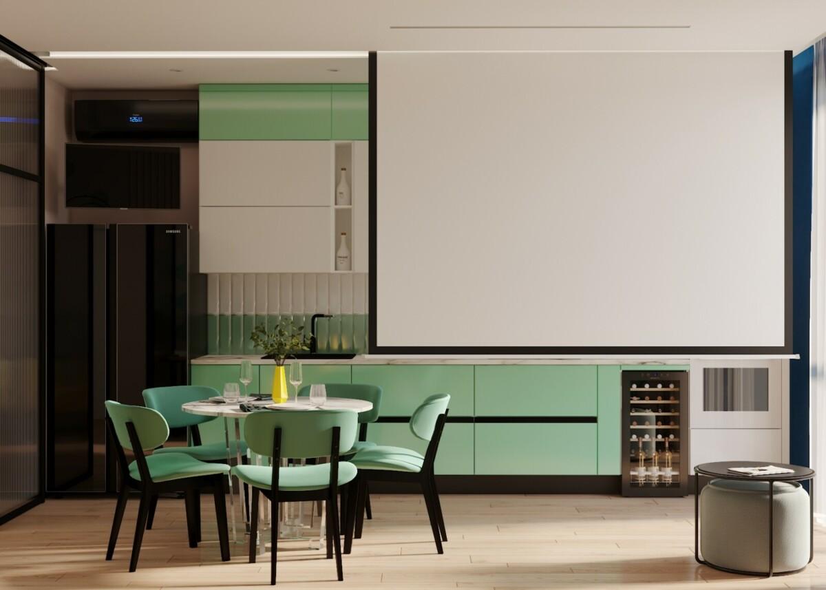 Мы видим кухню-гостиную в стиле Soleray. Это помещение может в любой момент превратиться в домашний кинотеатр. Встроенный в потолок, экран очень удобен в использовании с помощью пульта. На противоположной стене закреплен кинопроектор, с которого по желанию, можно продемонстрировать любой фильм.